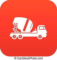 Concrete mixer truck icon digital red for any design...