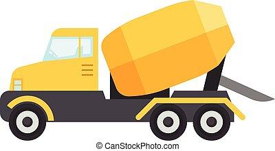 Concrete mixer truck icon, flat style - Concrete mixer truck...