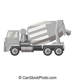 Concrete mixer truck icon, gray monochrome style