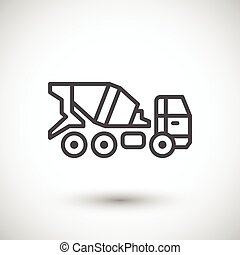 Concrete mixer truck icon isolated on grey. Vector...