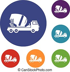 Concrete mixer truck icons set in flat circle reb, blue and...