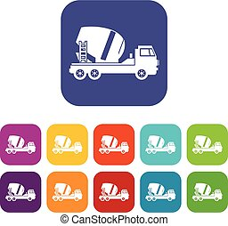 Concrete mixer truck icons set vector illustration in flat...