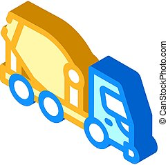 concrete mixer truck isometric icon vector illustration