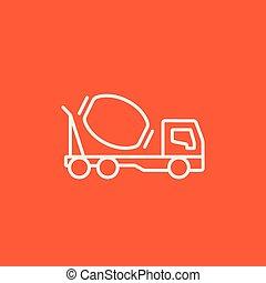 Concrete mixer truck line icon. - Concrete mixer truck line...