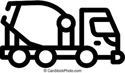 concrete mixer truck line icon vector illustration