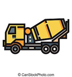 Concrete mixer truck LineColor illustration - Concrete mixer...