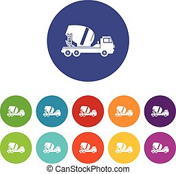 Concrete mixer truck set icons in different colors isolated...
