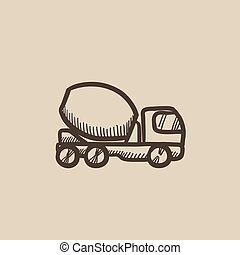 Concrete mixer truck sketch icon. - Concrete mixer truck...