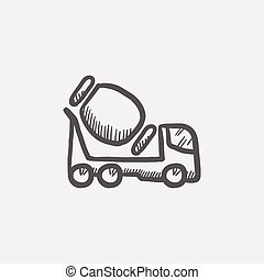 Concrete mixer truck sketch icon for web and mobile. Hand...