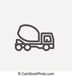 Concrete mixer truck thin line icon - Concrete mixer truck...