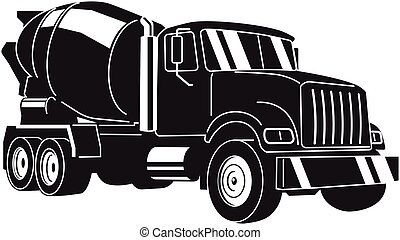 Concrete Mixer Truck. Vector Illustration - Concrete Mixer ...