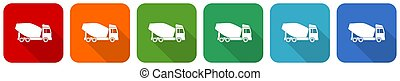 Concrete mixer, truck, vehicle conept icon set, flat design vector illustration in 6 colors options for webdesign and mobile applications