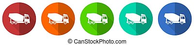 Concrete mixer, truck, vehicle conept icon set, red, blue, green and orange flat design web buttons isolated on white background, vector illustration
