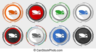 Concrete mixer, truck, vehicle conept modern design flat graphic in 8 options for web design and mobile applications