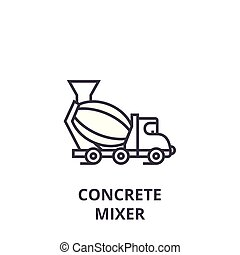concrete mixer vector line icon, sign, illustration on background, editable strokes
