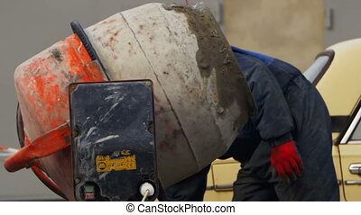 Concrete Mixer Work on Construction Sites and Knead...