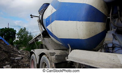 Concrete mixer working on construction site