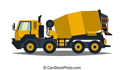 Concrete mixer. Yellow truck with special equipment. Isolated on white background. Construction machinery. Flat style