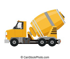 Concrete mixer. Yellow truck with special equipment. Isolated on white background. Construction machinery. Flat style.