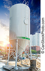 Concrete mixing tower. Concept of on-site construction...
