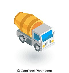 Concrete mixing truck isometric flat icon. 3d vector