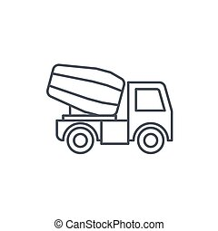 Concrete mixing truck thin line icon. Linear vector symbol