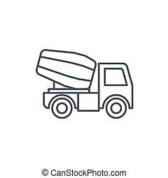Concrete mixing truck thin line icon. Linear vector symbol