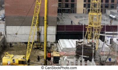 Concrete piles on construction site. Time Lapse