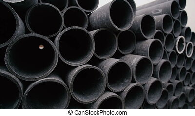 Concrete pipes for industrial building construction.