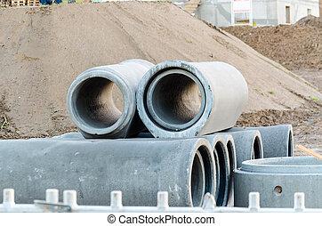 Concrete pipes, sewage