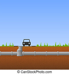 Concrete Pipes - System of concrete pipes under the ground ...