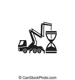 Concrete pump truck silhouettes logo. Concrete pump truck conveyed concrete on sand glass.