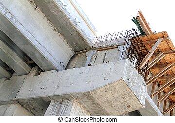 Concrete reinforced bridge construction formwork and reinforcement