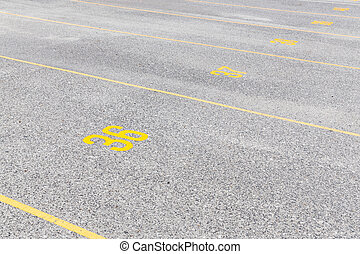 Concrete road texture with yellow color lines and numeric, ...