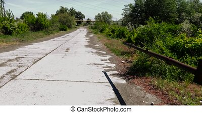 Concrete road with a barrier - The old Soviet concrete road...