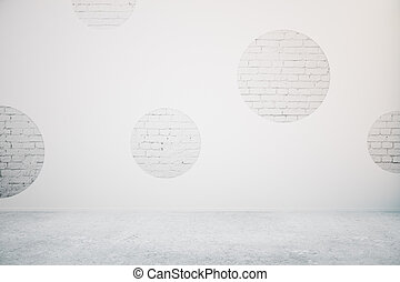 Concrete room brick circles