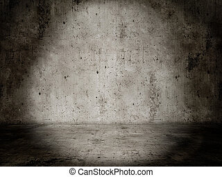 Concrete room, Lightspot empty and dark - Ein Beton raum...