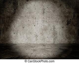Concrete room, Lightspot empty and dark - Ein Beton raum...