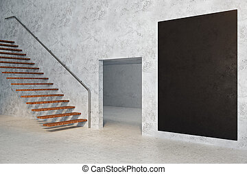 Concrete room with empty chalkboard