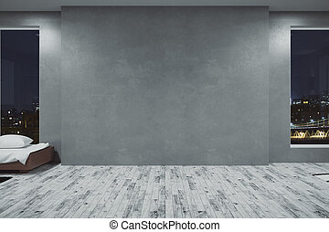 Concrete room with empty wall
