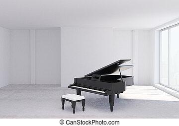 Concrete room with piano