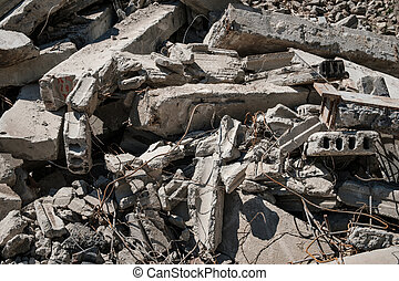 concrete rubble from destroyed building for construcion ...