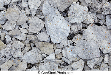 Concrete rubble - remains of destroyed wall - Concrete...