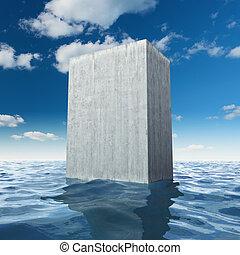 Concrete slab - Abstract monolithic concrete slab in sea
