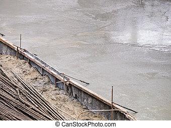 Concrete slab - Wet concrete slab under construction