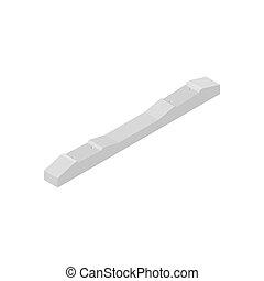Concrete sleeper in isometric, vector illustration.