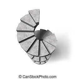 Concrete spiral staircase, 3D illustration