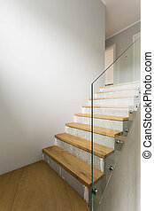 Concrete stairs in minimalist interior - Concrete and wooden...
