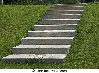 Concrete Steps - Concrete steps looking up in lush green...