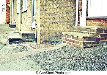 Concrete steps - Retro toned image of concrete steps of...